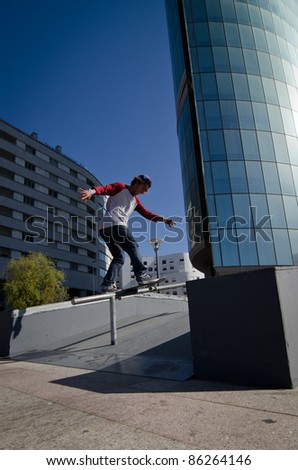 MAIA, PORTUGAL - OCTOBER 08: Diogo Pinto during the Osiris Maia Skate Challenge on October 08, 2011 in Maia, Portugal.