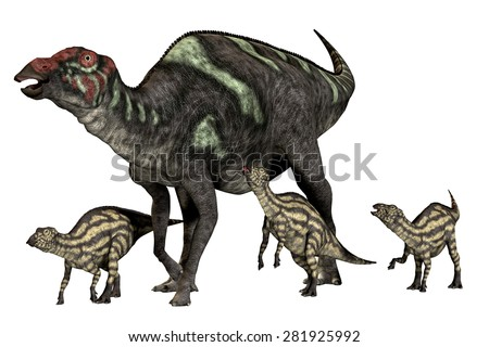 Maiasaura Good Mother - Maiasaura was a duck-billed herbivorous dinosaur that lived in Montana, USA in the Cretaceous Era. - stock photo