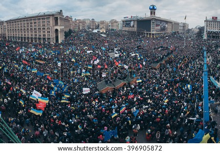 Maidan Nezalezhnosti, Kyiv, Ukraine- 1 December 2013: - A lot of people came to Independence Square, to tell their distrust to government Because Yanukovych not signed convention about EU association  - stock photo