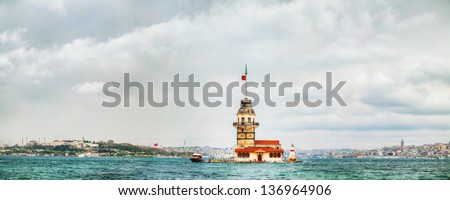 Maiden's island in Istanbul, Turkey at sunset time. Panoramic overview - stock photo