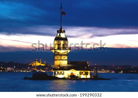 Maiden's Tower at Istanbul of turkey in the evening