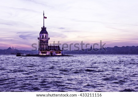 Maiden's Tower at night in Istanbul