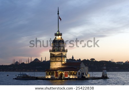 Maiden's Tower in Istanbul. - stock photo