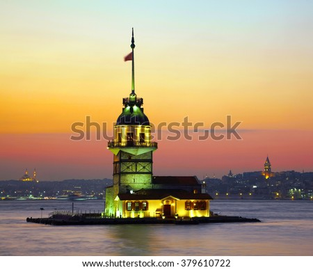 Maiden's Tower (Kiz Kulesi). Istanbul, Turkey - stock photo