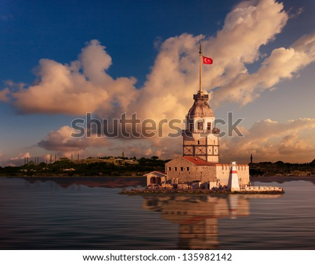 Maiden Tower and the Old City Silhouette in Istanbul Turkey - stock photo