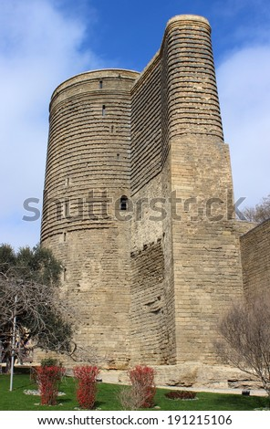 Maiden Tower in Old City of Baku in the Spring - stock photo