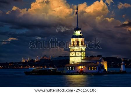 Maiden Tower (Kiz Kulesi Leander's Tower) at dusk, Istanbul, Turkey - stock photo