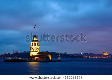 Maiden Tower (Kiz Kulesi Leander's Tower) at twilight, Istanbul, Turkey - stock photo