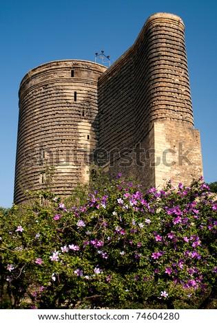 maidens tower in baku azerbaijan - stock photo