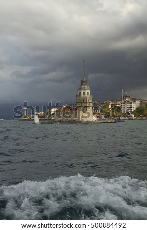 Maidens Tower, Istanbul, city and sea in storm weather