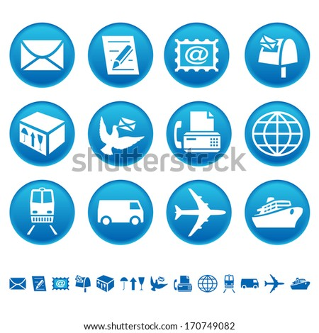 Mail and transportation icons. Raster version of EPS image 28228564 - stock photo