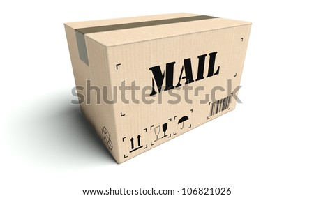 Mail cardboard box isolated on white background - stock photo