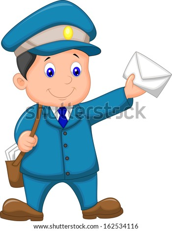 Mail carrier with bag and letter - stock photo