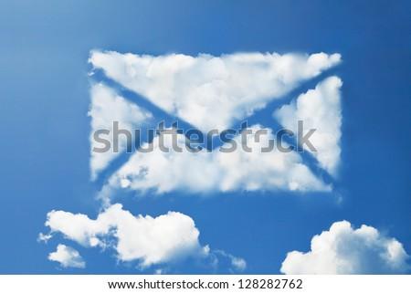 mail cloud shape - stock photo