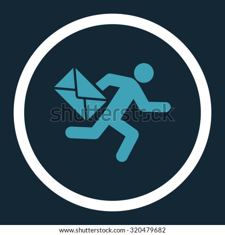 Mail courier glyph icon. This rounded flat symbol is drawn with blue and white colors on a dark blue background. - stock photo