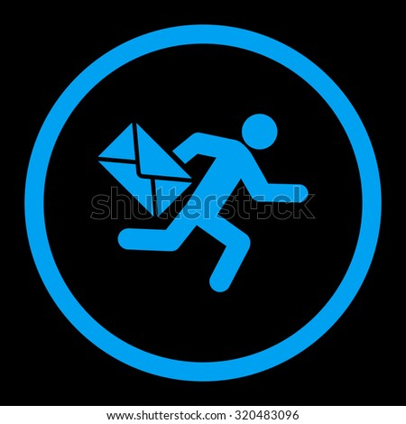Mail courier glyph icon. This rounded flat symbol is drawn with blue color on a black background. - stock photo