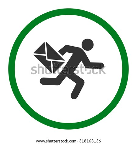 Mail courier glyph icon. This rounded flat symbol is drawn with green and gray colors on a white background. - stock photo