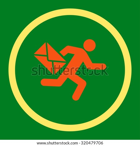 Mail courier glyph icon. This rounded flat symbol is drawn with orange and yellow colors on a green background. - stock photo