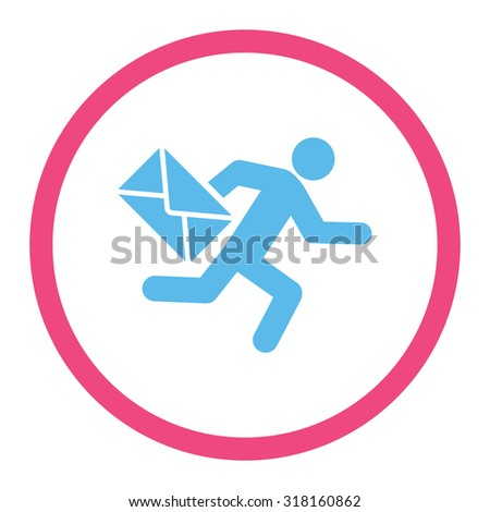 Mail courier glyph icon. This rounded flat symbol is drawn with pink and blue colors on a white background. - stock photo