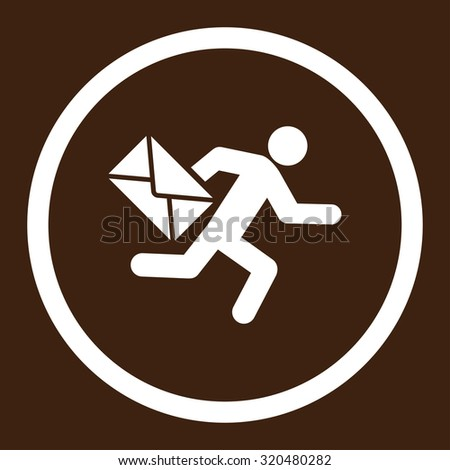 Mail courier glyph icon. This rounded flat symbol is drawn with white color on a brown background. - stock photo