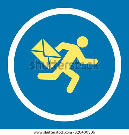 Mail courier glyph icon. This rounded flat symbol is drawn with yellow and white colors on a blue background. - stock photo