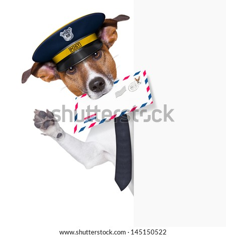 mail dog behind banner and waving - stock photo