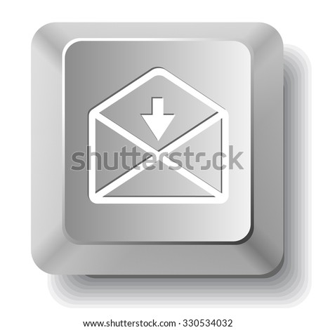 mail downarrow. Raster computer key. - stock photo