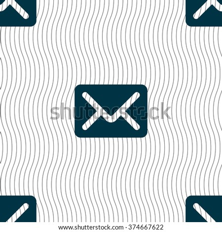 Mail, envelope, letter icon sign. Seamless pattern with geometric texture. illustration - stock photo