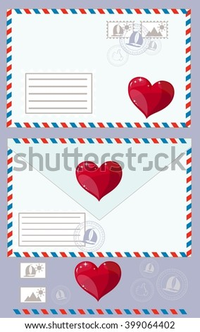 Mail Envelope, Stickers, Stamps And Postcard Vintage Style. Stock illustration - stock photo