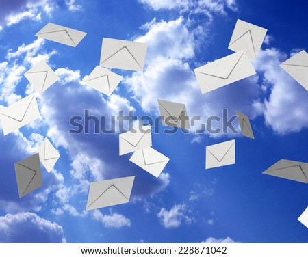 Mail flying in the sky, 3d illustration - stock photo