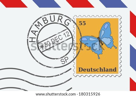 Mail from Germany - postage stamp and post mark from Hamburg. German letter. - stock photo