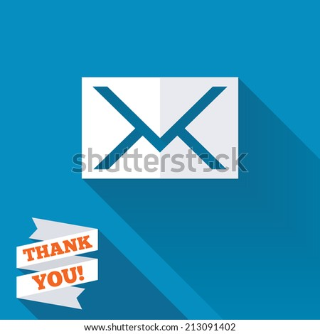 Mail icon. Envelope symbol. Message sign. Mail navigation button. White flat icon with long shadow. Paper ribbon label with Thank you text. - stock photo