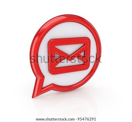 Mail icon. Isolated on white background.3d rendered. - stock photo
