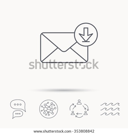 Mail inbox icon. Email message sign. Download arrow symbol. Global connect network, ocean wave and chat dialog icons. Teamwork symbol. - stock photo