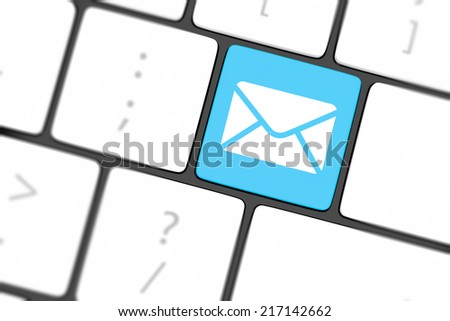 Mail keyboard button on grey keyboard