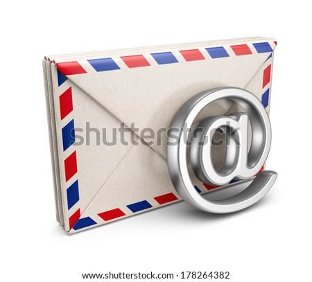 Mail letter with e-mail symbol. 3D Icon isolated on white background - stock photo