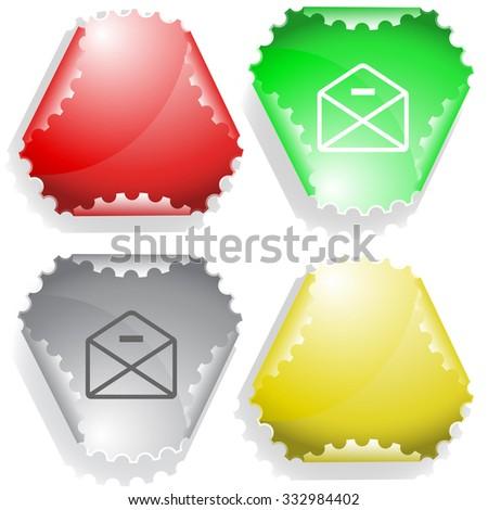 mail minus. Raster sticker. - stock photo