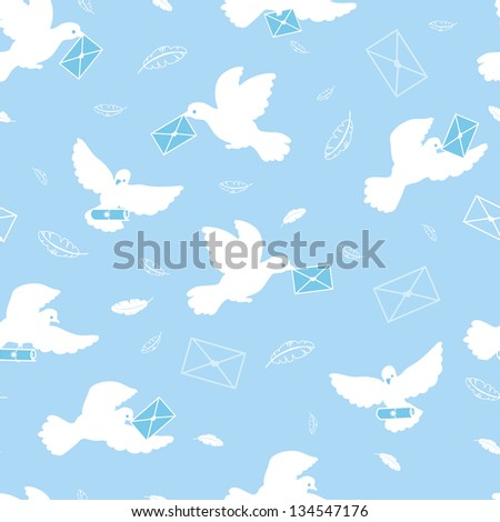 Mail pigeons vector seamless pattern background raster