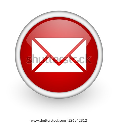 mail red circle web icon on white background - stock photo