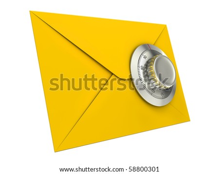 Mail security concept. Mail icon with combination lock. - stock photo