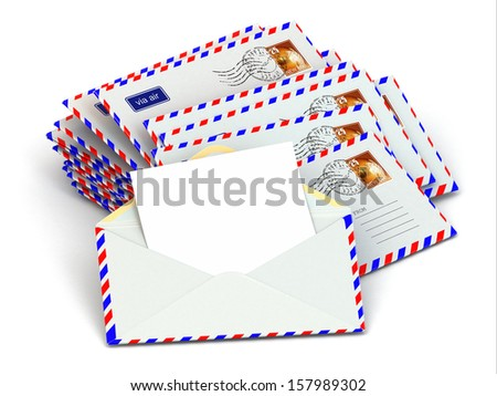 Mail. Stack of envelopes and empty letters. 3d - stock photo