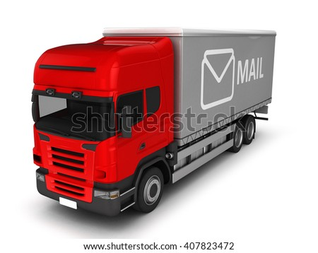 Mail truck isolated on white.3D illustration. - stock photo