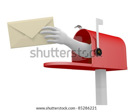 Mailbox and a hand with an envelope. This is a 3d render illustration - stock photo