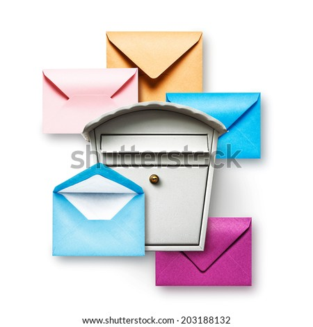 Mailbox and colorful envelopes on white background - stock photo