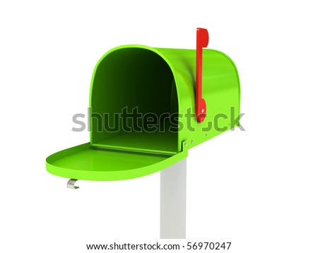 Mailbox over white background. 3d rendered image - stock photo