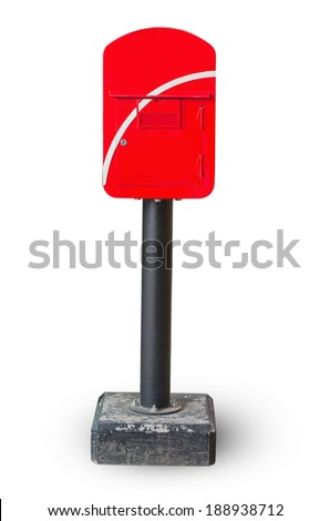 Mailbox red roof isolated on white background. - stock photo
