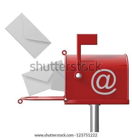 Mailbox with flying letters isolated on white background High resolution 3d render - stock photo