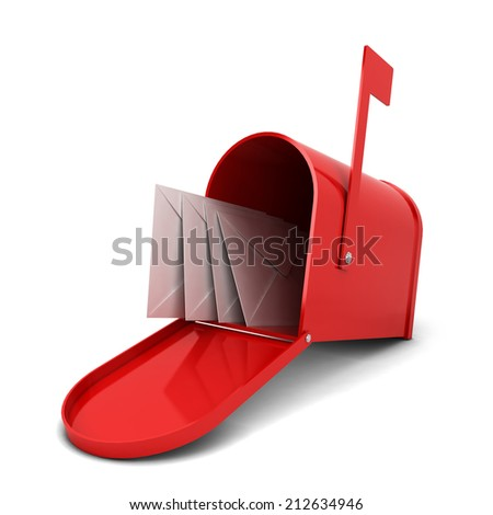 Mailbox with letters. 3d illustration isolated on white background  - stock photo