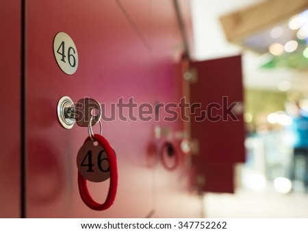 Mailboxes and keys. Blurred background - stock photo