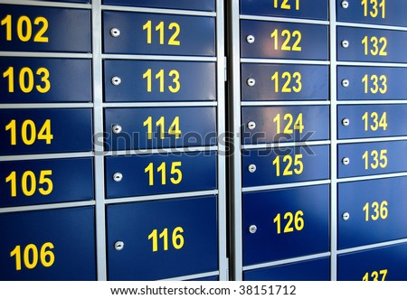 Mailboxes at the post office - stock photo